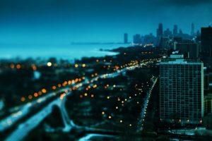 cityscape, Tilt shift, Evening, Chicago