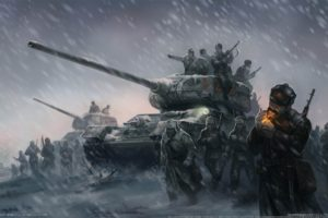 artwork, World War II, Soviet Army, Tank, Cigarettes, Winter