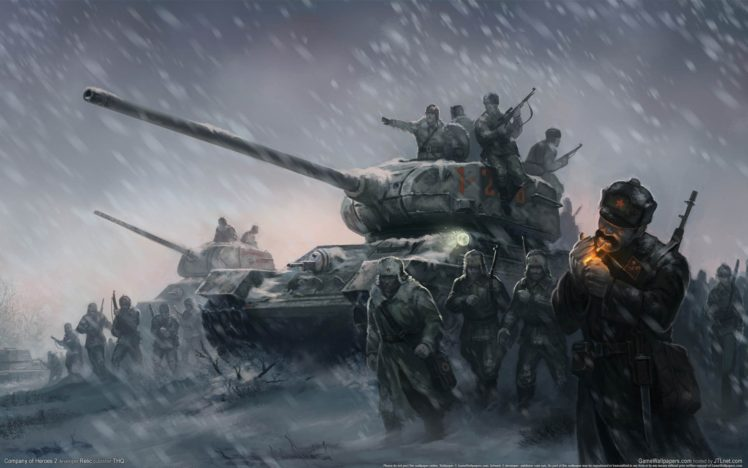 Artwork World War II Soviet Army Tank Cigarettes Winter HD Wallpaper