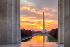 architecture, Building, City, Washington, D.C., Washington Monument, Lincoln Memorial, USA, Sunset, Column, Trees, Reflection