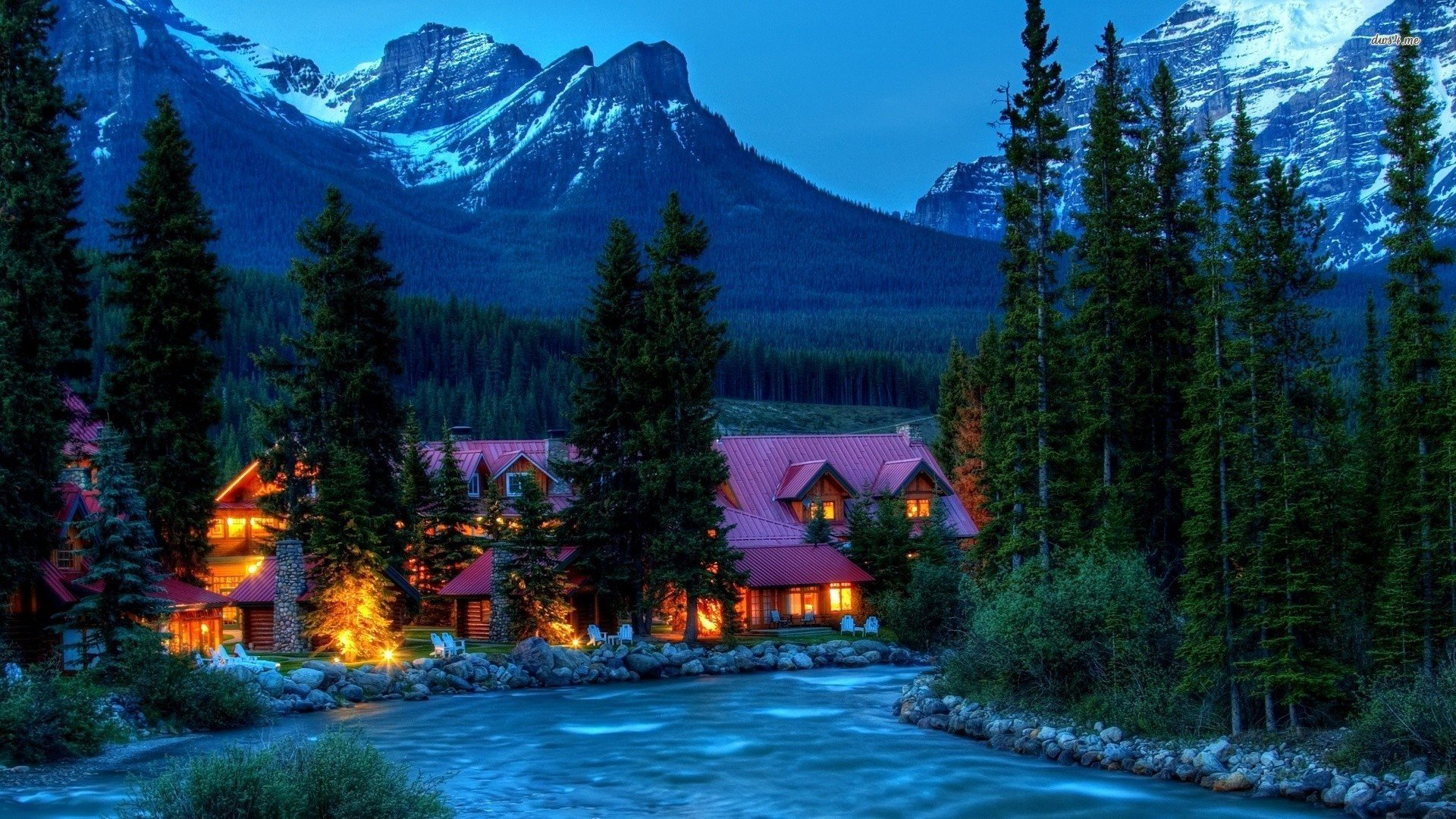 house lights nature trees forest stream mountains