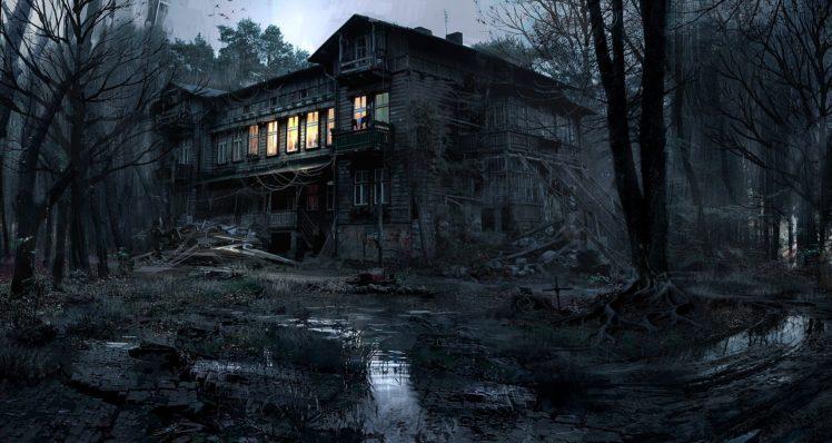 creepy, House, Lights, Nature, Trees, Forest, Night, Dark, Mud, Photography, Photoshop HD Wallpaper Desktop Background