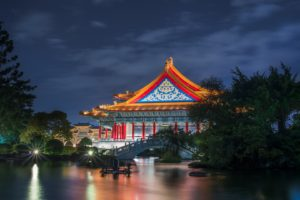 house, Lights, Nature, Trees, Night, Asian architecture, Bridge, Taipei, Taiwan, Long exposure, Reflection, Theaters