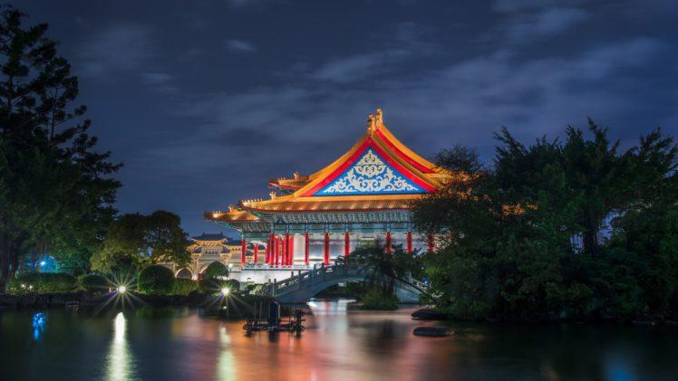house, Lights, Nature, Trees, Night, Asian architecture, Bridge, Taipei, Taiwan, Long exposure, Reflection, Theaters HD Wallpaper Desktop Background