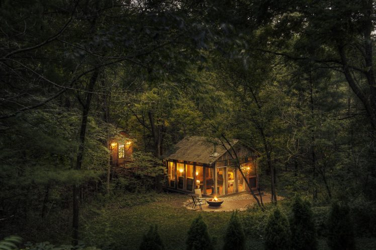 house, Lights, Nature, Trees, Forest, Cabin, Fire, Wood HD Wallpaper Desktop Background