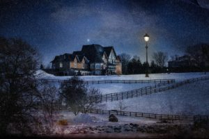 house, Lights, Nature, Trees, Forest, Night, Winter, Snow, Hills, Fence, Field, Stars, Lamp, Mansions