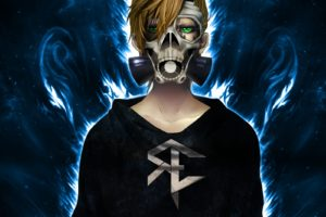 blonde, Gas masks, Anime, Skull, Fire, Reinelex