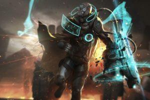 artwork, Futuristic armor