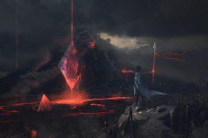 artwork, Volcano