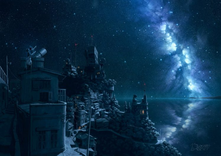 stars, Sky, Blue, Artwork HD Wallpaper Desktop Background