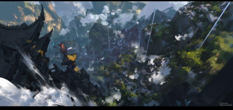 fantasy art, Waterfall HD Wallpaper Desktop Background