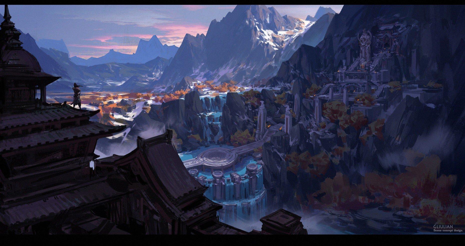 fantasy art, Waterfall Wallpaper