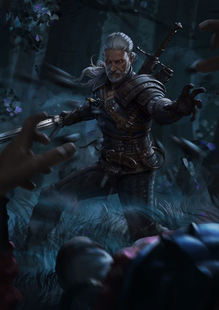 geralt of rivia, magic, the witcher, the witcher 3: wild hunt hd