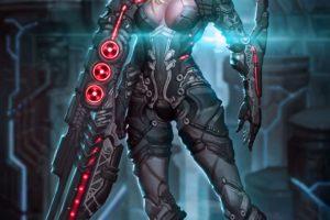 warrior, Sword, Futuristic