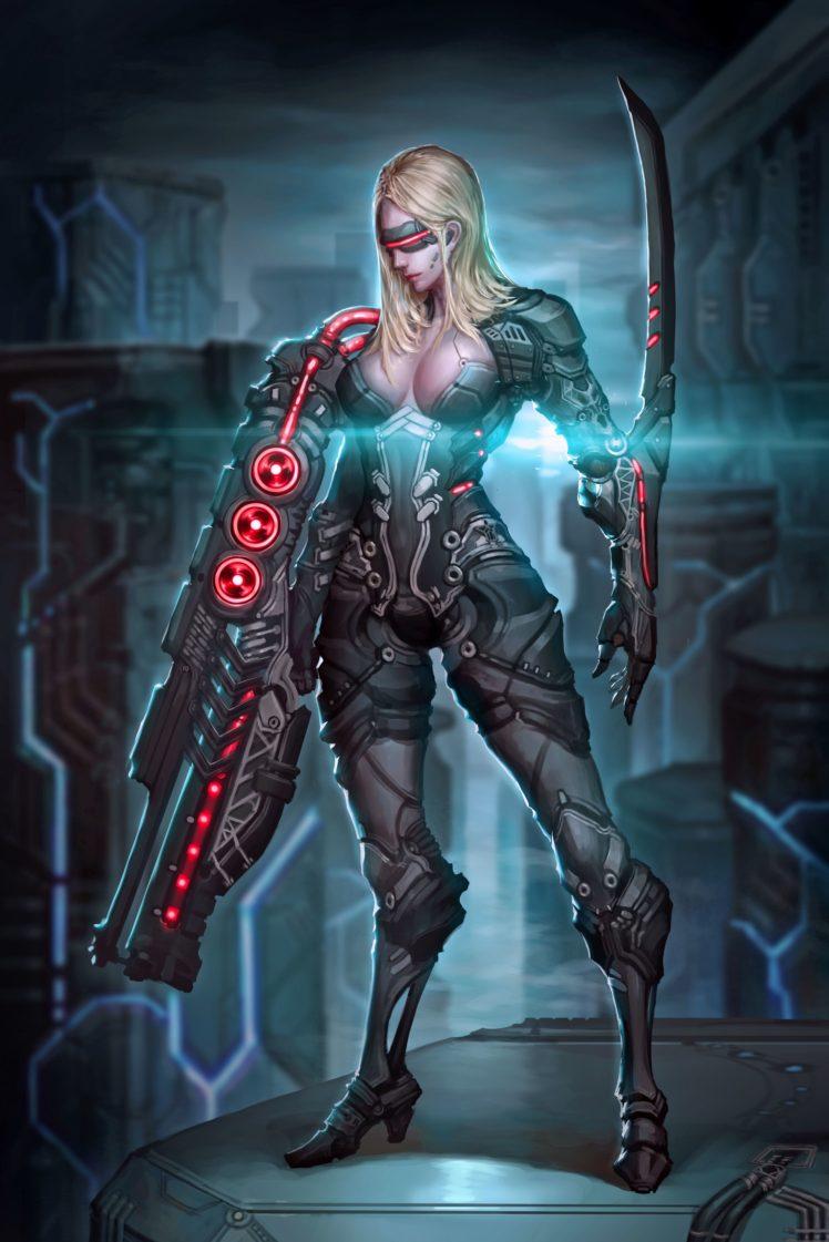 warrior, Sword, Futuristic HD Wallpaper Desktop Background