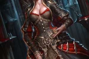 warrior, Vampires, Sword, Fantasy art