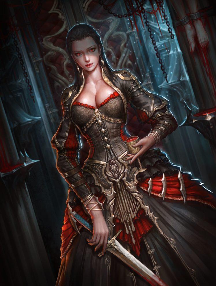warrior, Vampires, Sword, Fantasy art HD Wallpaper Desktop Background