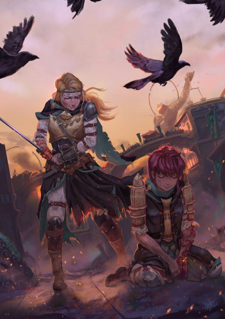 warrior, Sword, Fantasy art HD Wallpaper Desktop Background