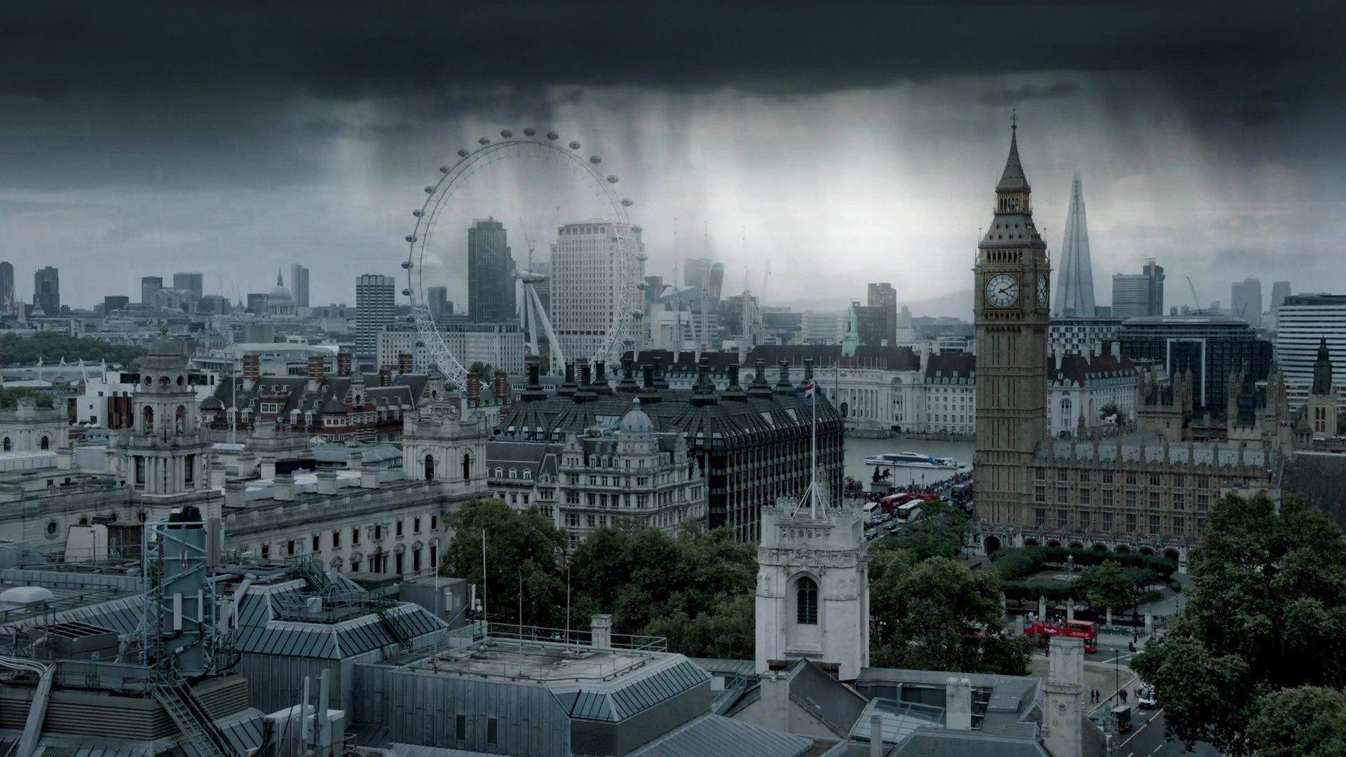 london city cityscape rain clouds uk the shard hd