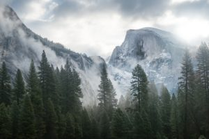 Yosemite National Park, Forest, Mountains, Clouds, Landscape, Nature
