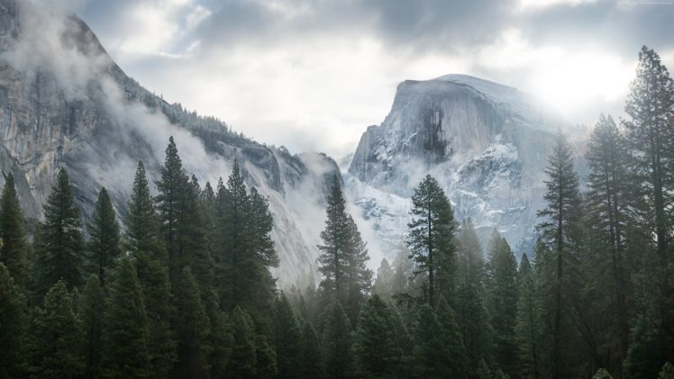 Yosemite National Park, Forest, Mountains, Clouds, Landscape, Nature HD Wallpaper Desktop Background