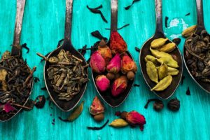colorful, Spices, Spoons