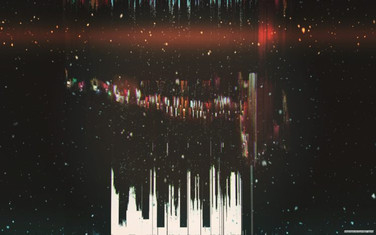 glitch art, Abstract, Minimalism, Dark, Black, Snow HD Wallpaper Desktop Background