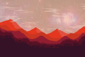 landscape, Abstract, Red, Mountains, Photoshop, Space
