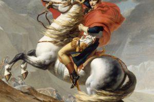 Napoleon Bonaparte, Jacques Louis David, Oil painting, Artwork, Bonaparte franchissant le Grand Saint Bernard