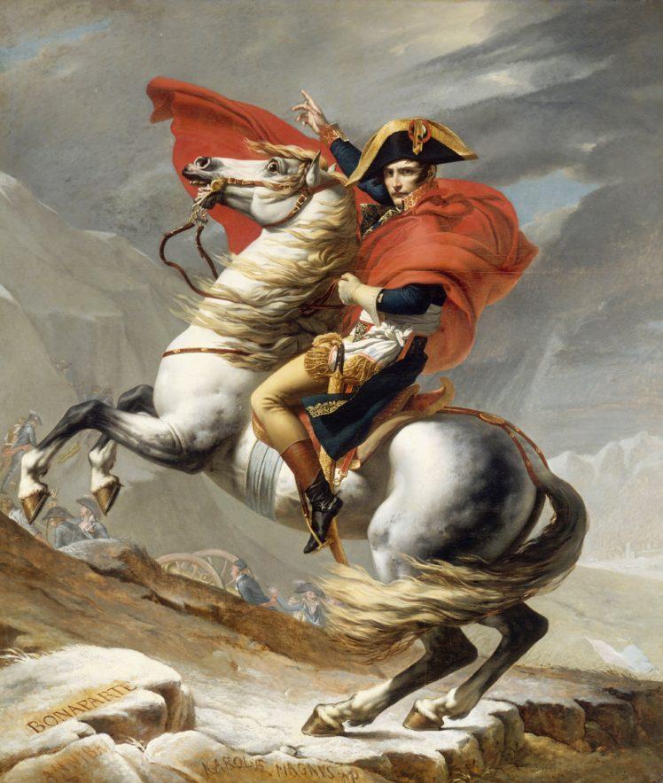 Napoleon Bonaparte, Jacques Louis David, Oil painting, Artwork, Bonaparte franchissant le Grand Saint Bernard HD Wallpaper Desktop Background