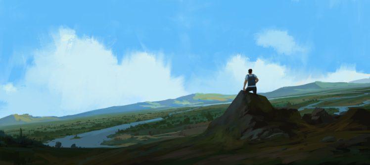 illustration, Artwork, Mountains HD Wallpaper Desktop Background