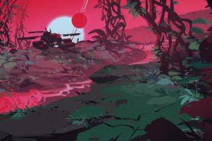 illustration, Artwork, Suns, Forest, Nature