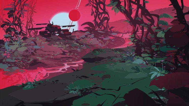 illustration, Artwork, Suns, Forest, Nature HD Wallpaper Desktop Background