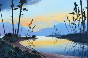 illustration, Artwork, Sunset, Forest, Landscape, Water, Drawing, Bears, Mountains