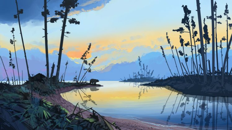 Illustration Artwork Sunset Forest Landscape Water Drawing Bears Mountains Hd Wallpapers Desktop And Mobile Images Photos