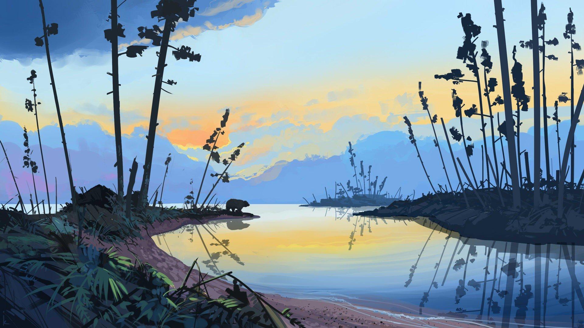 Landscape Illustration Vector Free: Illustration, Artwork, Sunset, Forest, Landscape, Water