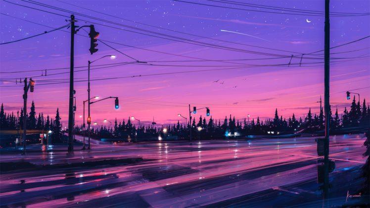 illustration, Artwork, Aenami, Road, Stars HD Wallpaper Desktop Background