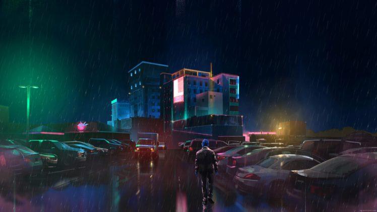 rain, Neon, Digital art HD Wallpaper Desktop Background