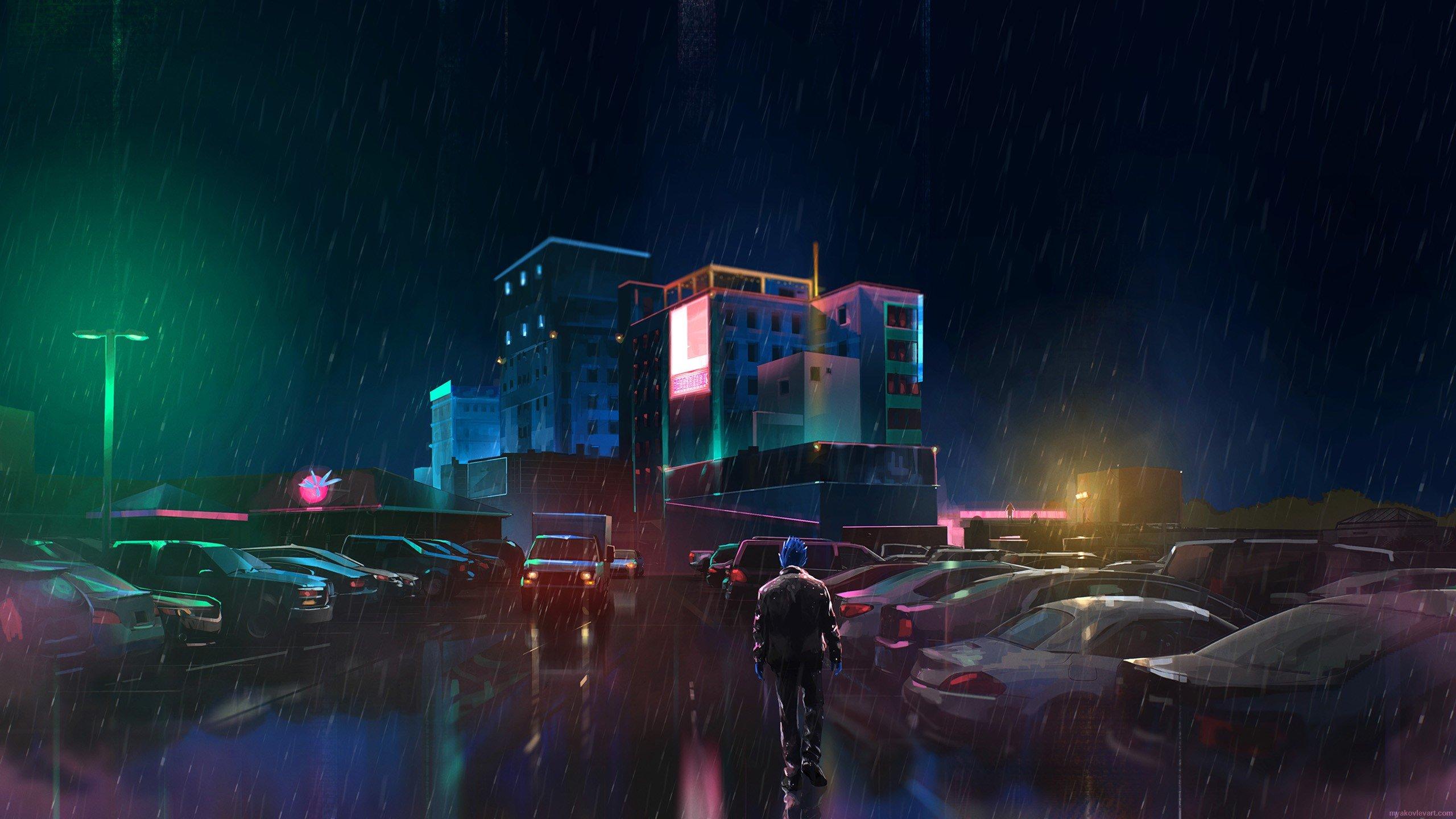 Rain neon digital art hd wallpapers desktop and mobile - Neon hd wallpaper for mobile ...