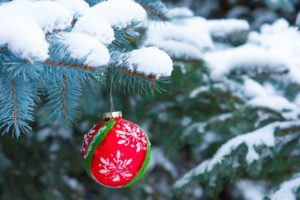 winter, Snow, Christmas ornaments, Christmas