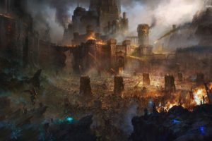 artwork, Fantasy art, Castle, Army, The Lord of the Rings