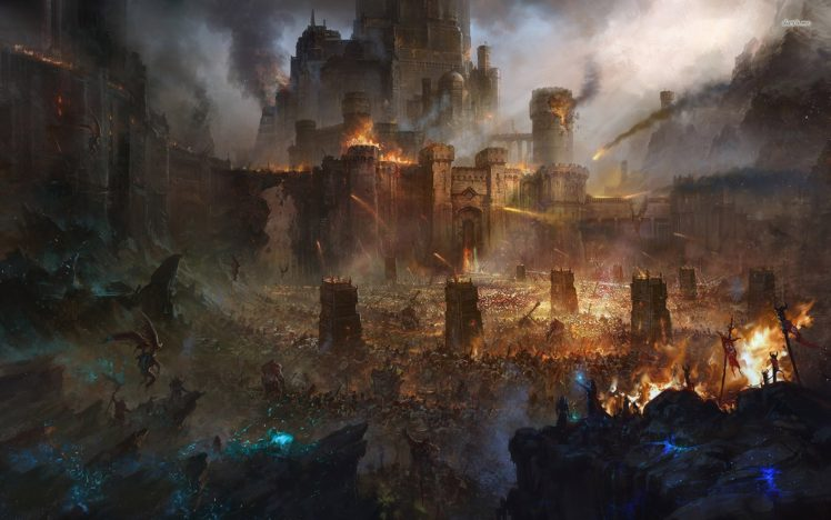 artwork, Fantasy art, Castle, Army, The Lord of the Rings HD Wallpaper Desktop Background