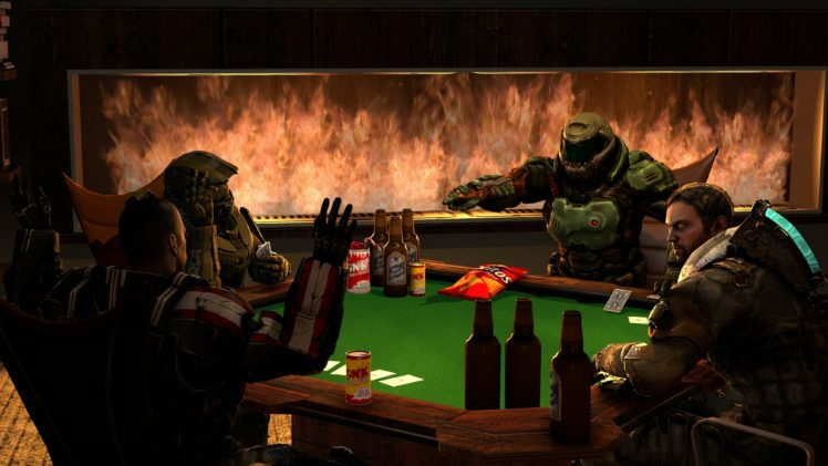 Master Chief, Commander Shepard, Isaac Clarke, Halo 5: Guardians, Doom (game), Mass Effect, Dead Space, Source Filmmaker HD Wallpaper Desktop Background