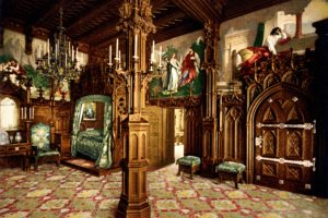 architecture, Interior, Neuschwanstein Castle, Painting, Ancient, Germany, Arch, Wood, Bed, Door, Carpet, Ornamented, Chair, Candles