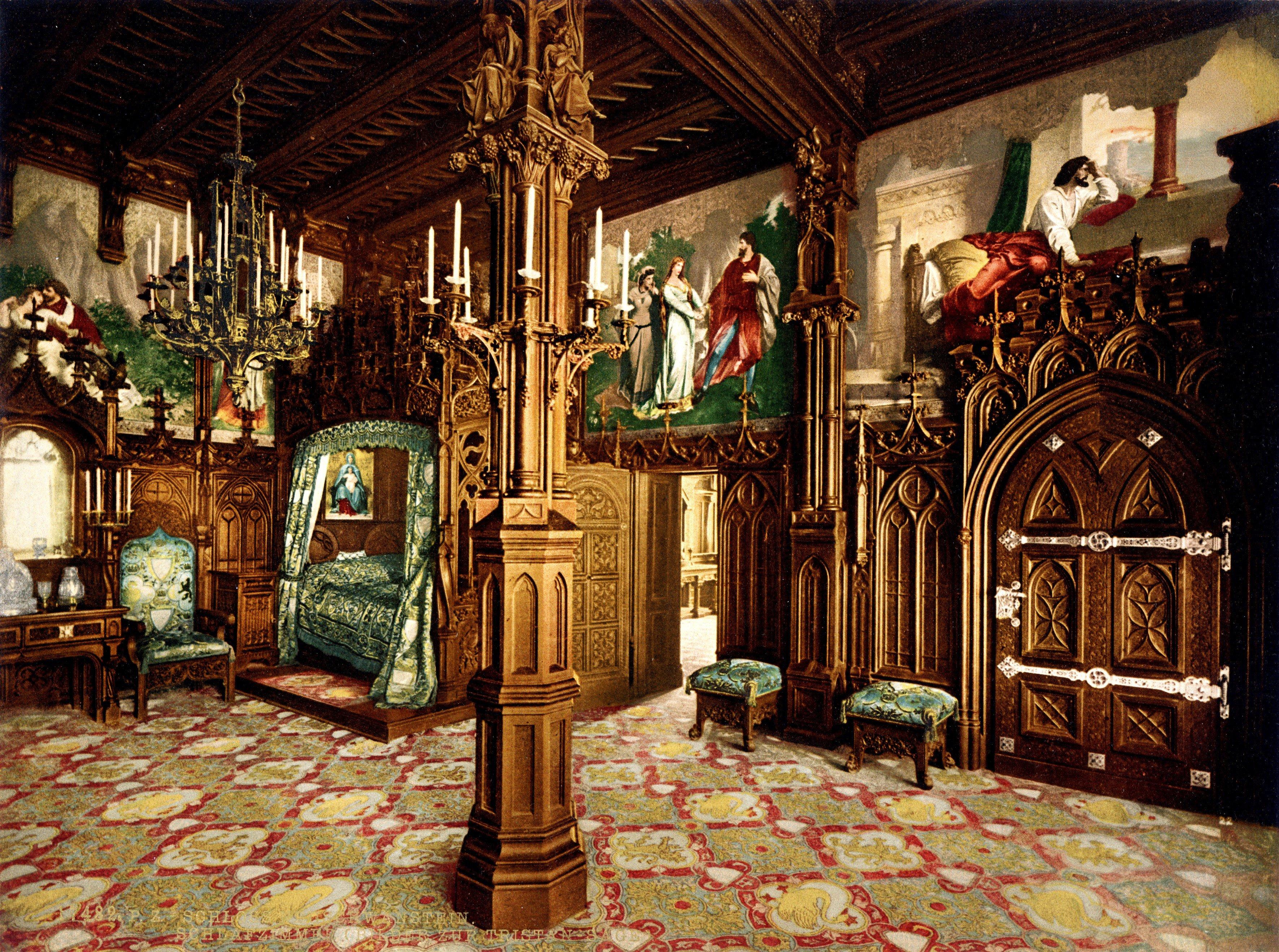 architecture, interior, neuschwanstein castle, painting, ancient