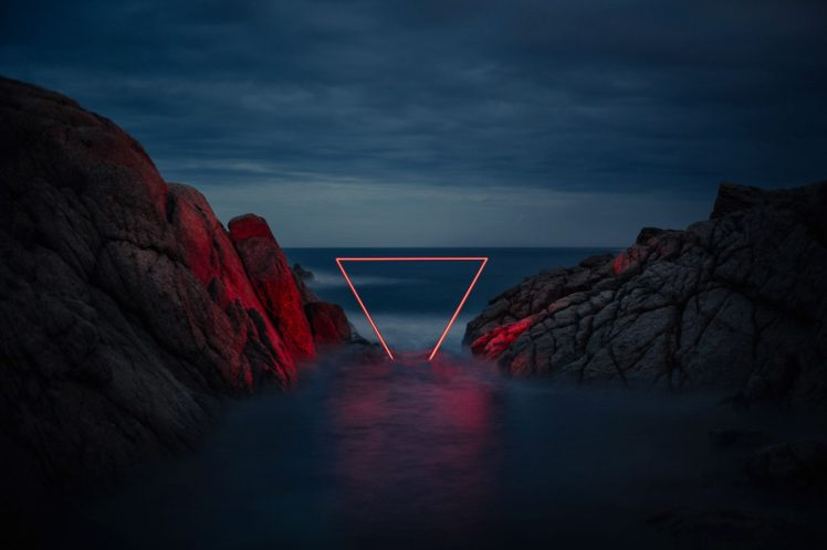 Nicolas Rivals, Nature, Landscape, Clouds, Evening, Rock, Neon lights, Triangle, Long exposure, Artwork, Sea, Horizon, Reflection, Red ligths, Geometry HD Wallpaper Desktop Background