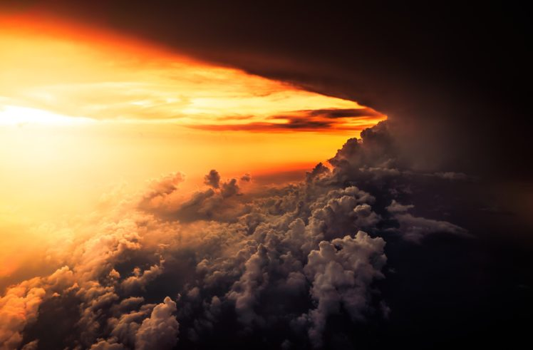 Nature Landscape Clouds Sunset Sky Aerial View HD Wallpaper Desktop Background