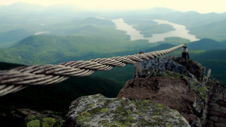 nature, Landscape, Depth of field, Mountains, Ropes, Lake, Rock, Hills, Moss HD Wallpaper Desktop Background