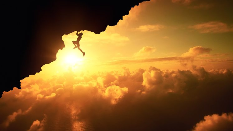 Men Furstset Nature Landscape Clouds Rock Climbing Silhouette