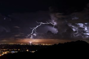 nature, Landscape, Clouds, Lightning, Night, Storm, Cityscape, City lights, Mountains, Silhouette
